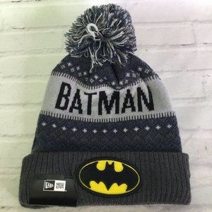 New Era Batman Logo Gray Knit Pom Cuff Beanie Hat